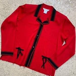 Exclusively Misook Red Black Button Down Cardigan